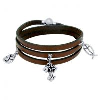Faith Leather WRapped Charm Bracelet