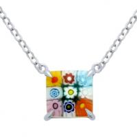Multicolor Murano Millefiori 10mm Square Necklace