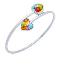 Multicolor Murano Millefiori Faceted Hearts Bangle