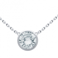 Rhodium Plated 7.5mm CZ Stone on Necklace