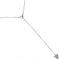 Rhodium Plated Dual Triangle CZ Y Necklace