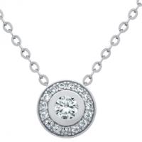 Rhodium Plated Elegant Round CZ Necklace