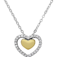 Rhodium and Gold Plated 15mm Floating CZ hearts Necklace