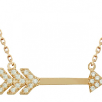 Rose Gold Plated CZ Arrow Necklace