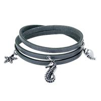 Sealife Leather Wrapped Charm Bracelet