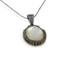 Signature Authentico Mother of Pearl Faceted Oval Pendant