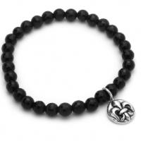 Twisted Blade 7 Black Onyx Stretch Bracelet with Silver Fleur De Lis Charm