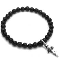 Twisted Blade 7 Onyx Stretch Bracelet with Silver Dagger Charm
