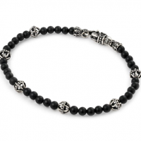 Twisted Blade Bracelet with Black Onyx and Ball Ink Beads