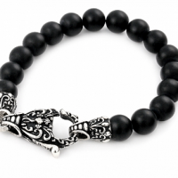 Twisted Blade Intricate Black Onyx Bead Bracelet (Also available in matte)