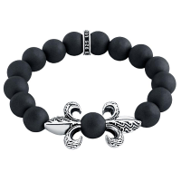 Twisted Blade Silver Fleur De Lis Onyx Stretch Bracelet - Also available in matte 31