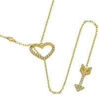 Vermeil CZ Heart and Arrow Lariat Necklace